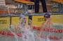福岡市立総合西市民プールに水しぶき。